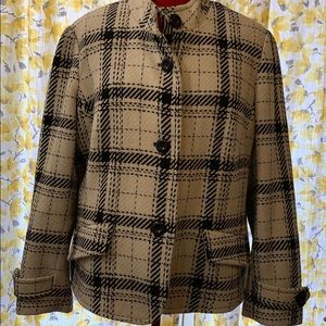 Black and white plaid lined short coat